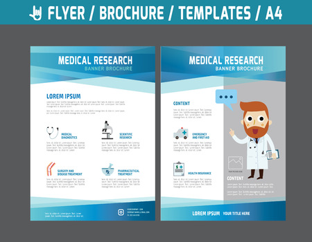 health care research: Flyer multipurpose design vector template in A4 size.Templates or Banners for Medical and Health Care concept.abstract brochure modern style.wellness marketing  illustration.