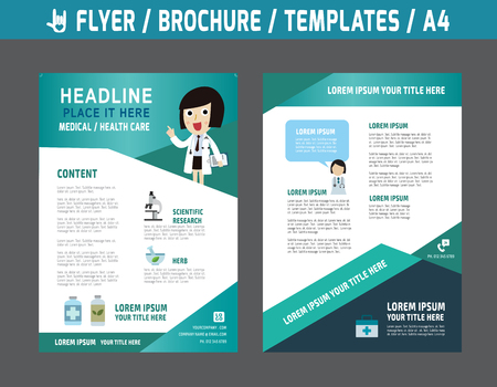 Flyer multipurpose design vector template in A4 size.Templates or Banners for Medical and Health Care concept.abstract brochure modern style.wellness marketing  illustration. Imagens - 48858597