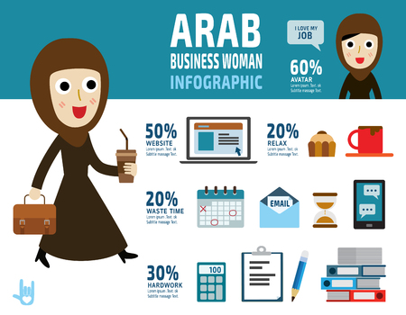 asian business: arab business woman. item collection flat icons design illustration cartoon character. Illustration