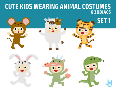 cute kids wearing zodiac animal costumesisolated on white background.diverse of costume and action poses.flat design character illustration. Ilustração
