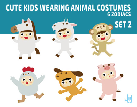 dog in costume: cute kids wearing zodiac animal costumesisolated on white background.diverse of costume and action poses.flat design character illustration. Illustration