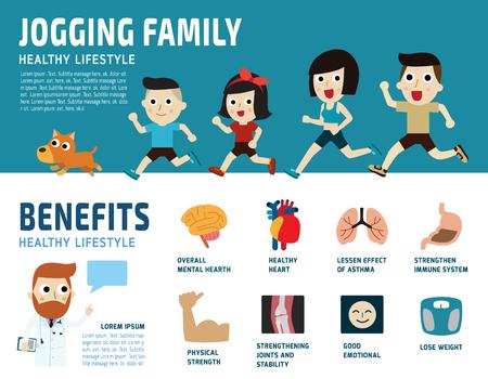 백인 가족 jogging.healthcare의 concept.benefits 흰색 배경에 icon.isolated 실행. 일러스트