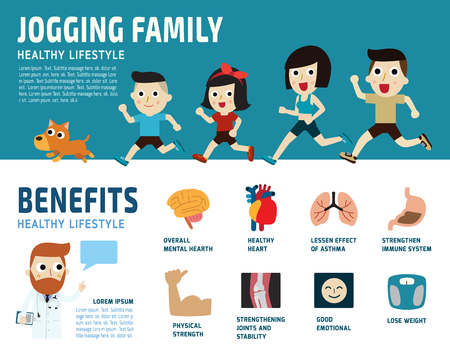 Caucasian family jogging.healthcare concept.benefits of running icon.isolated on white background.