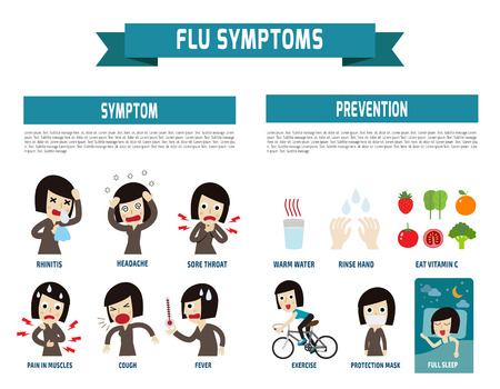 influenza: flu symptoms and Influenza.health concept. infographic element. flat icons cartoon design.illustration. isolated on white background. Illustration