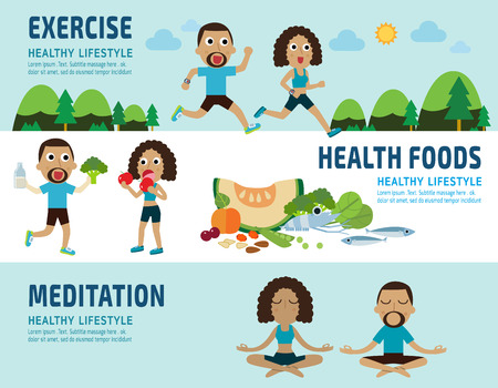 jogging in nature: exercise.healthy foods.meditating. banner header.healthcare concept. elements infographic.vector flat modern icons design illustration.isolated on white and blue background. Illustration