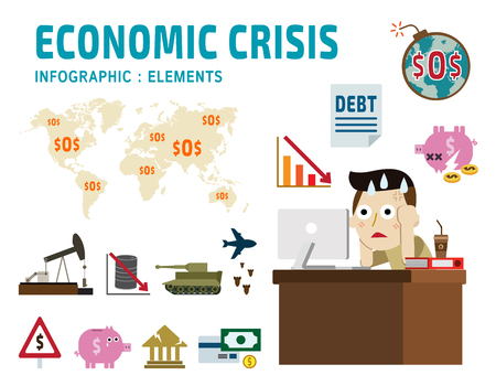 meltdown: economic crisis.frustrated business man cartoon character.falling graph of a stock marketset flat icons modern designisolated on white background.financial crisis graphic illustration.