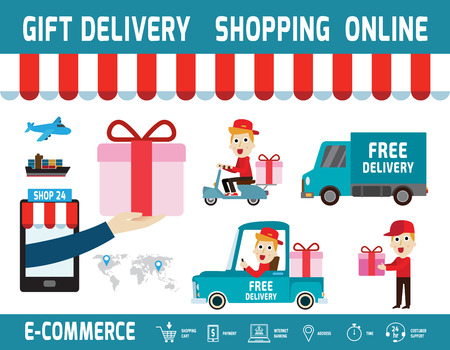 ordering: ecommerce.gift delivery concept.isolated on white backdropbanner brochure illustration.