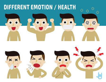 emociones: concepto diferente emoción faces.healthy, aislado en el contexto blanco