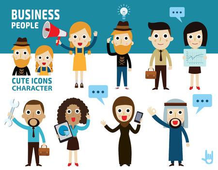 groups of people: establecer diferencia de los negocios people.flat icono de dibujos animados design.illustration aislado en el fondo blanco.