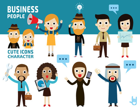 people standing: set difference of business people.flat cartoon icon design.illustration isolated on white background.