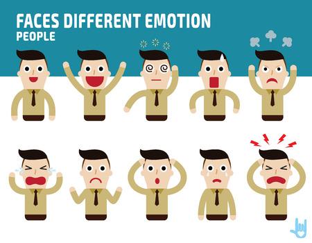 남자는 흰색 배경에 고립 보여주는 다른 emotions.Illustration에 직면 일러스트