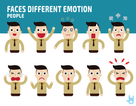 man faces showing different emotions.Illustration isolated on white background Illustration