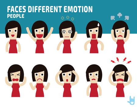 mujer se enfrenta a mostrar emotions.Illustration diferentes aislados sobre fondo blanco