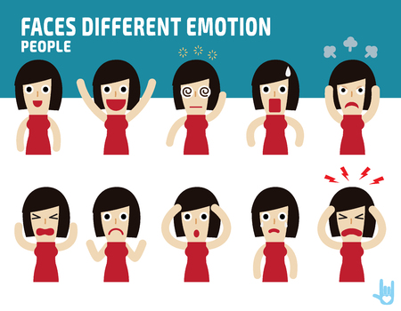angry smiley face: woman faces showing different emotions.Illustration isolated on white background