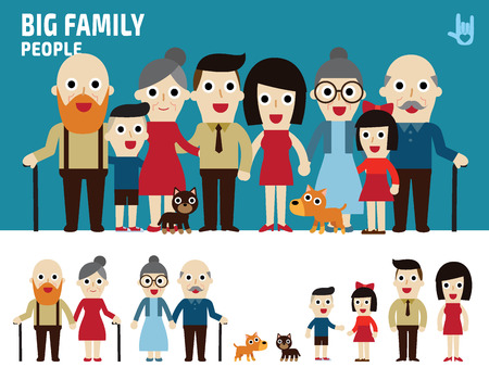 grandpa and grandma: big family. collection of cartoon full body flat design. illustration isolated on white background. Illustration