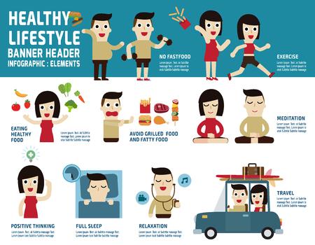 흰색 배경에 고립 된 건강 lifestyle.infographic elements.health 관리 concept.illustration