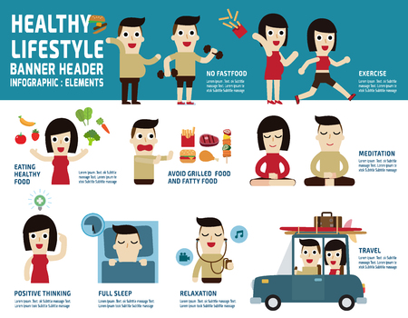 sleeping car: healthy lifestyle.infographic elements.health care concept.illustration isolated on white background