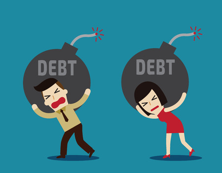 ball and chain: debt.business concept.