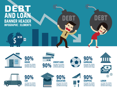 credit card debt: debt banner head.business financial concept.cartoon illustration  and icons isolated on white background