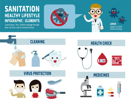 Virus Protection.infographics elements.healthcare concept.banner header for website.illustration isolated on white background Ilustrace