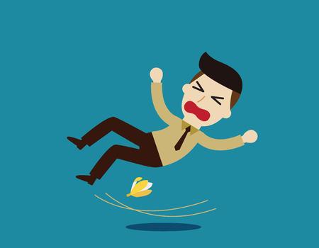 El hombre de negocios se deslice sobre un plátano peel.Business concepto illustration.illustration aislado en el fondo azul Ilustración de vector