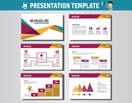 advert: collection of multipurpose presentation template.icons Infographic element.company advert marketing concept.abstract polygon flyer layoutbrochure modern style.flat leaflet illustration. Illustration