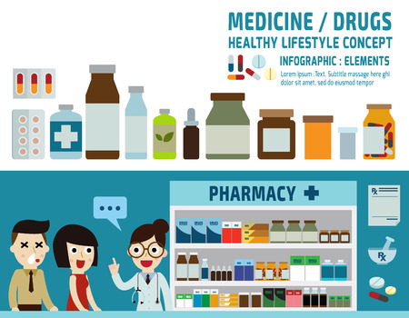 drugs icons: pills capsules and prescription bottles.pharmacy drugstore.infographic elements.wellness concept.banner header blue for website and magazine.illustration isolated on white background. Stock Illustratie