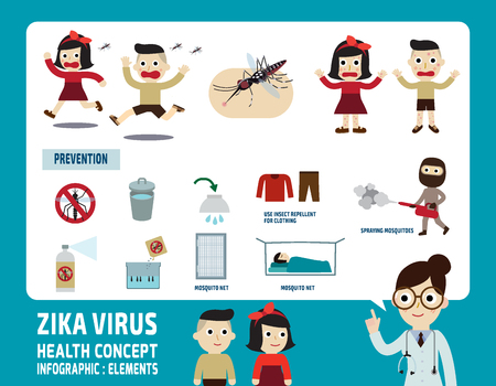 Zika virus.infographic concepto de cuidado elements.health. Foto de archivo - 52524484