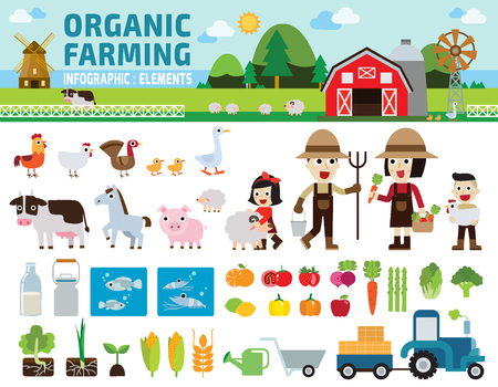Agriculture and Farming.infographic elements concept.illustration Çizim
