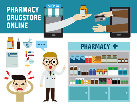 웹 사이트 및 magazine.illustration에 대한 약국 drugstore.infographic elements.wellness의 concept.banner 헤더 파란색 흰색 배경에 고립입니다.