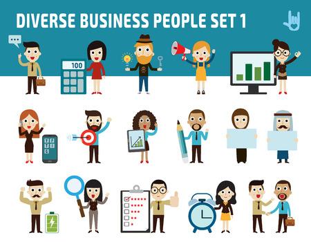 ejecutivo en oficina: establecer la diferencia plantea la nacionalidad de los negocios peopleflat diseño de iconos de dibujos animados. concept.illustration de negocios aislados sobre fondo blanco.