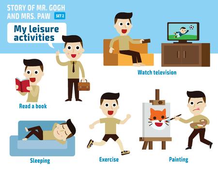 ricreazione: il tempo libero activities.infographic illustrazione elements.flat