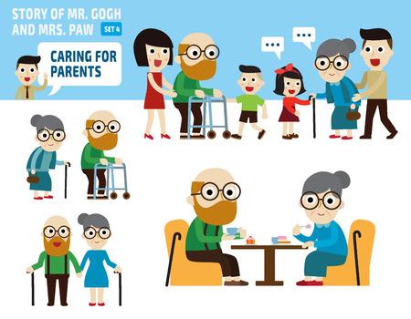 personas mayores: el cuidado de la ilustración elements.flat parentinfographic
