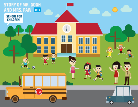 Parents take their children to school.flat illustration