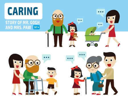 old people: caring for parentinfographic elements.flat isolated illustration