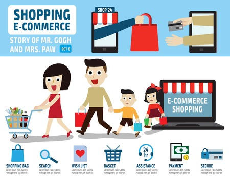 credit card business woman: shopping e commerceinfographic elements.flat isolated illustration.retail marketing concept.