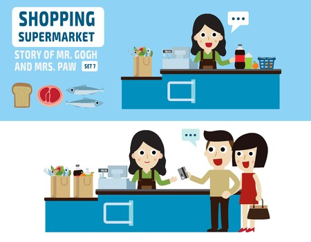 young female cashier.flat cartoon  design.isolated illustration. 矢量图像