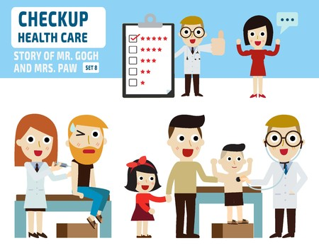 stethoscope boy: check up healthcare.infographic elements.flat illustration.healthy concept. Illustration