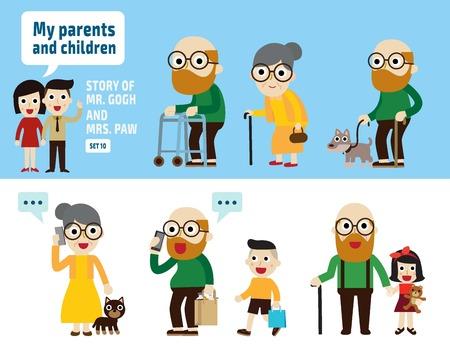 retired: Couple lovely senior peopleflat cartoon designdifferent posesisolated illustration