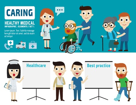 caring for: caring  for patient.flat cartoon designdifferent posesisolated illustration Illustration