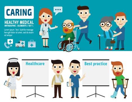 caring: caring  for patient.flat cartoon designdifferent posesisolated illustration Illustration