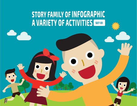 happy asian family: enjoying happy Asian family jumping together at outdoor park.flat cartoon design illustration.