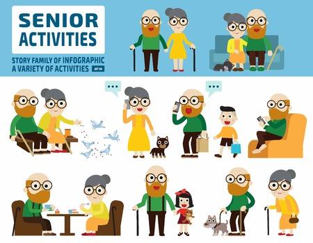 senior couple set.infographic elements.flat cute cartoon design illustration.