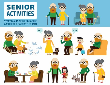 senior couple set.infographic elements.flat cute cartoon design illustration.