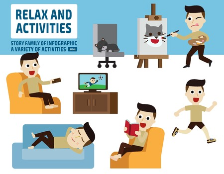 actividades recreativas: activities.infographic ocio elements.flat ejemplo lindo del dibujo animado del.