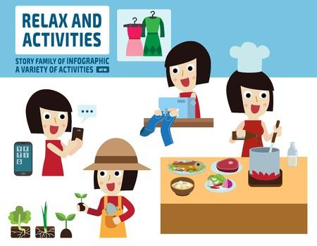 at leisure: leisure activities concept.infographic elements.flat cute cartoon design illustration.