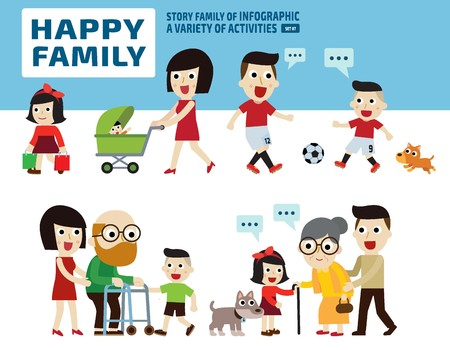 guy with walking stick: happy family.leisure activities concept..infographic elements.flat cute cartoon design illustration. Illustration