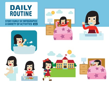 school activities: daily routine of childhood.infographic element.health care concept.flat cute cartoon design illustration.