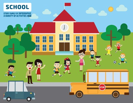building exterior: Parents take their children to school.education concept.flat cute cartoon design illustration.