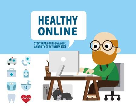 personas mayores: la salud de investigación mayor atención onlinehealth concept.infographic ilustración elements.flat diseño de dibujos animados lindo.